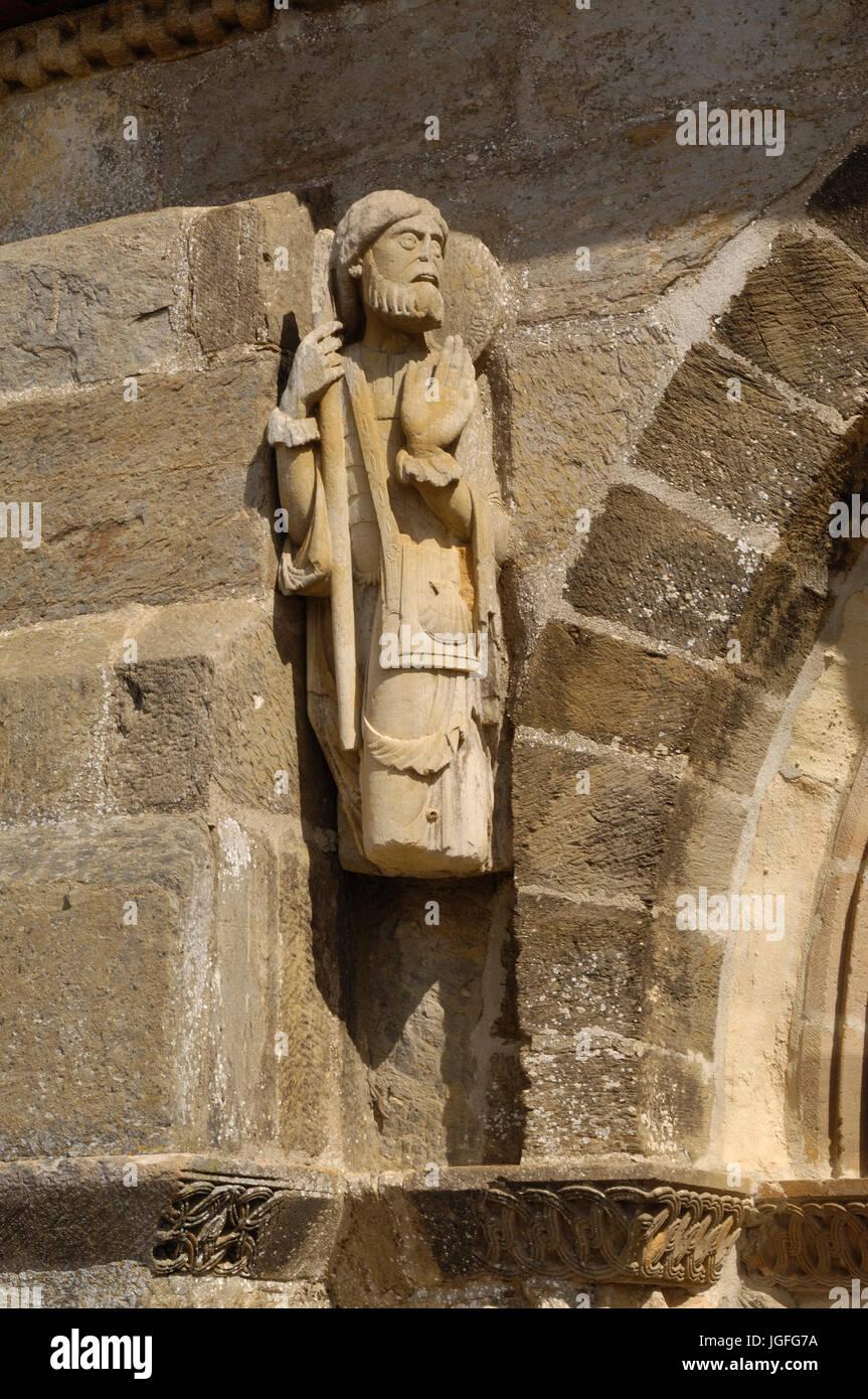 Santiago pilgrim sculpture, Romanesque Church of Santa Marta de Tera XI century, Via de la Plata, Castilla y Leon, - Stock Image