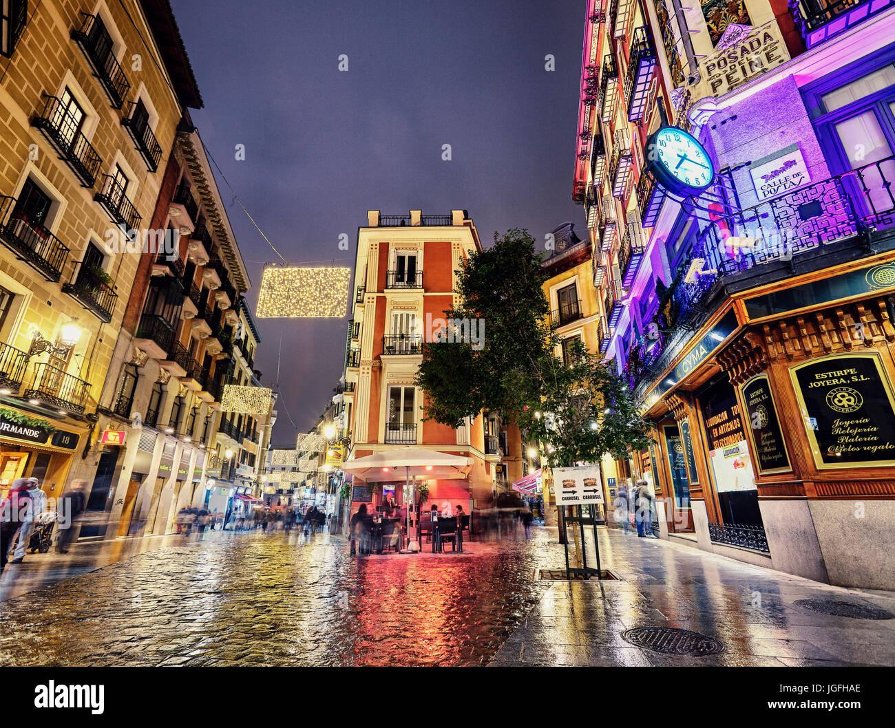 Postas street at Christmastime. Madrid. Spain - Stock Image