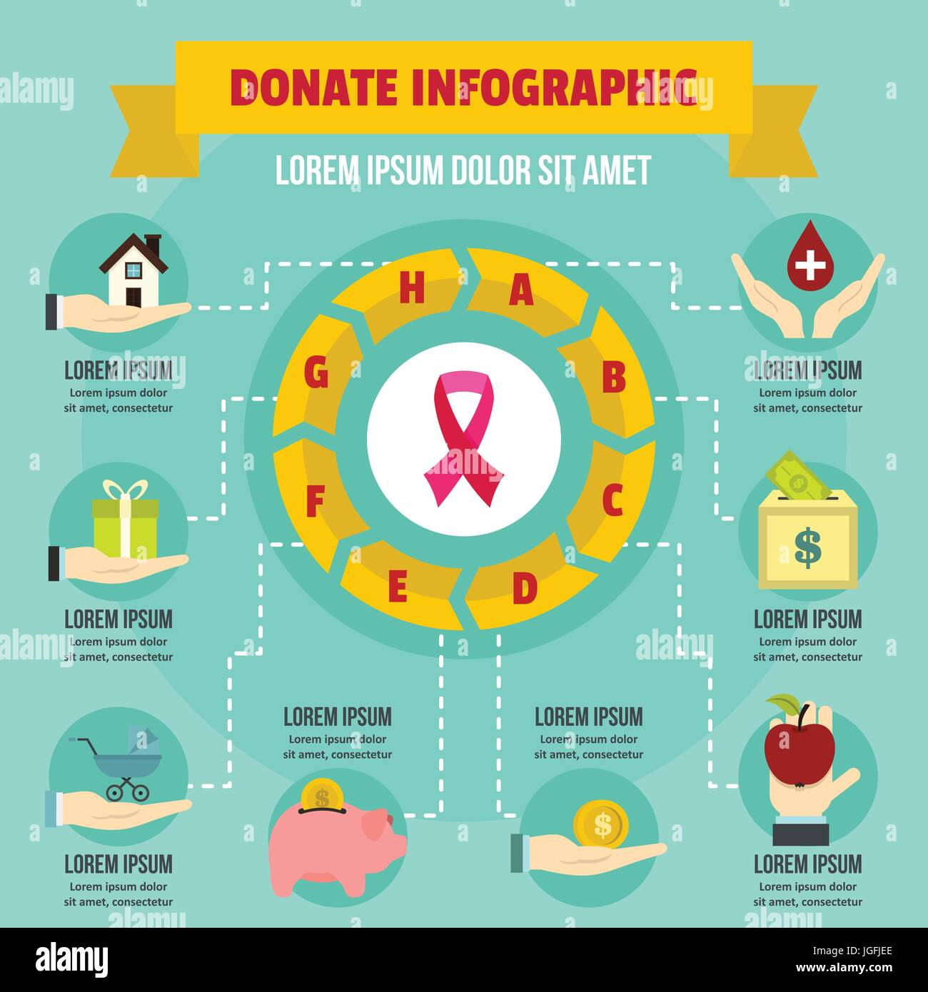 Donate infographic concept, flat style - Stock Image