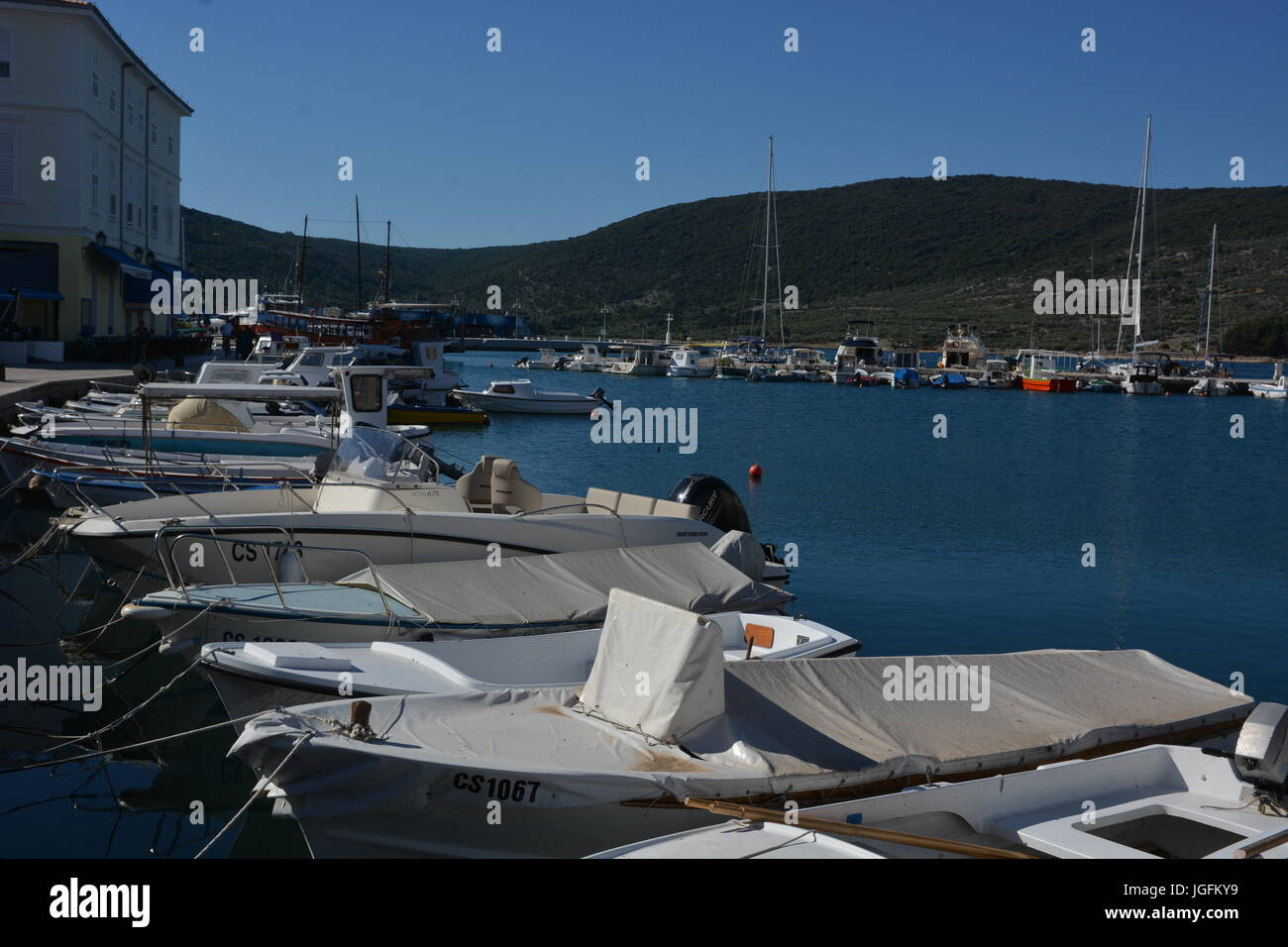 Cres, Croatia - June 18, 2017 - City of cres with boats and blue sky Stock Photo