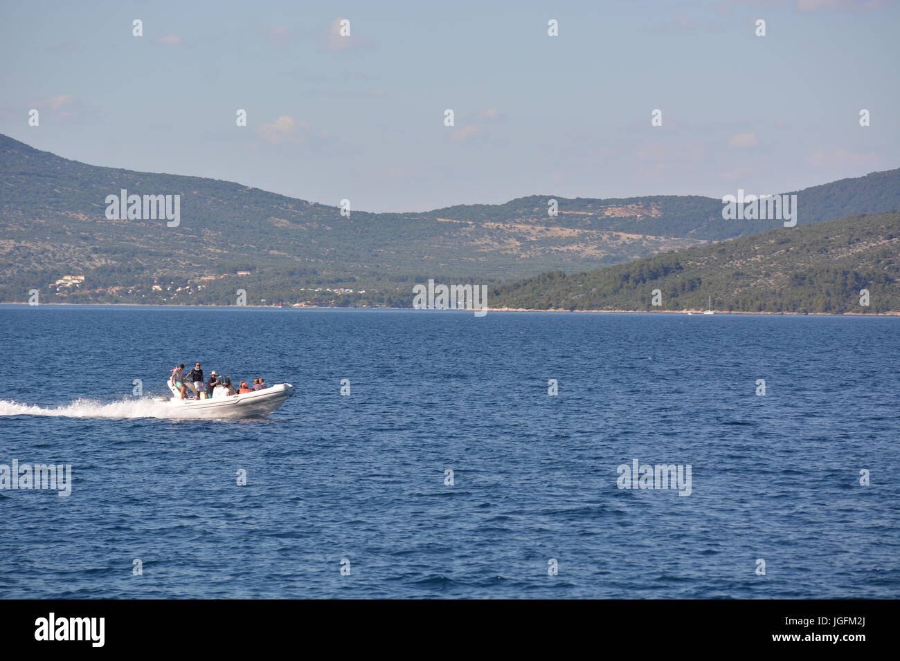 Cres, Croatia - June 18, 2017 - Motorboat near Valun on island Cres Stock Photo