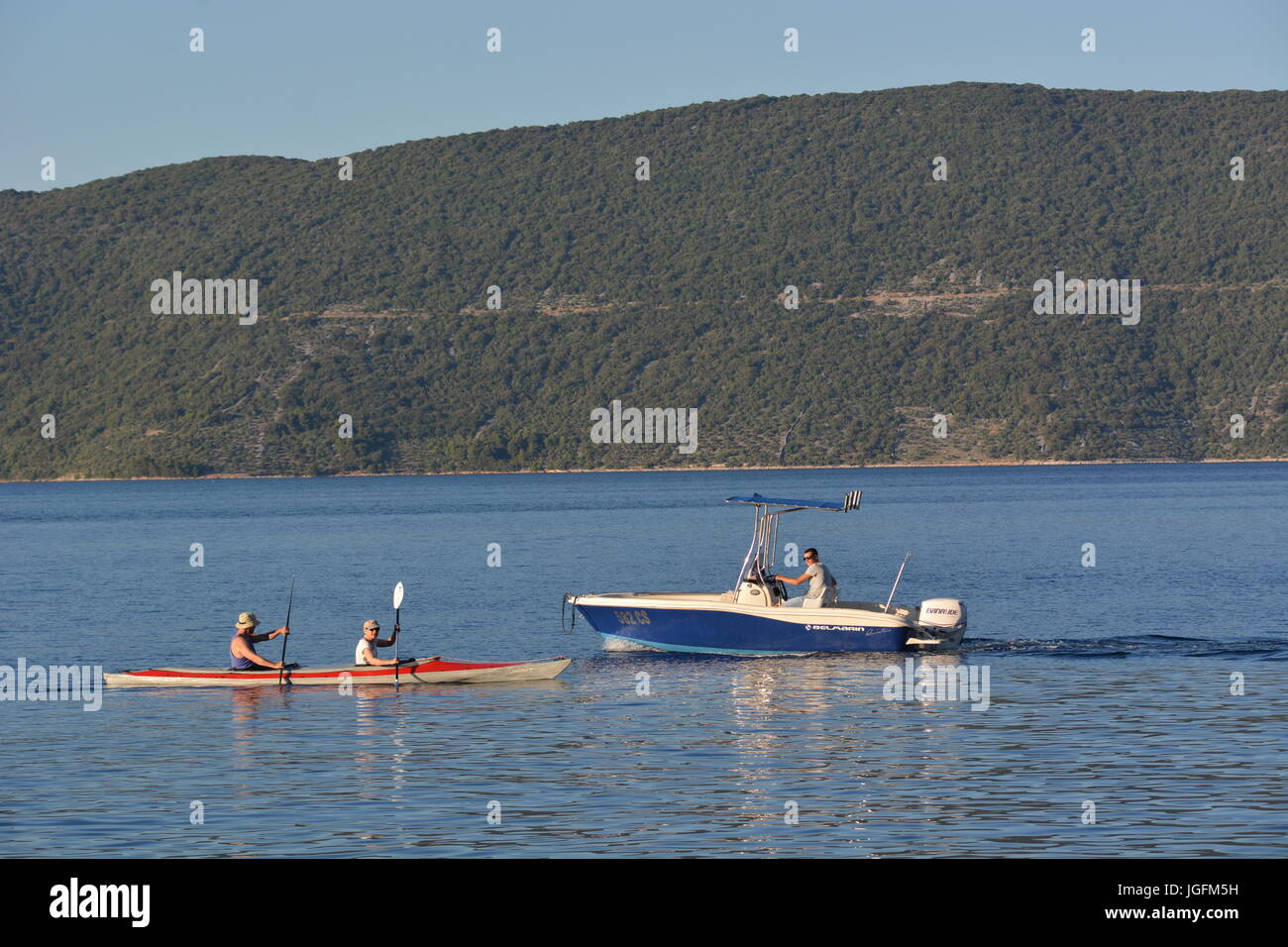 Cres, Croatia - June 18, 2017 - Motorboat near Valun on island Cres Stock Photo