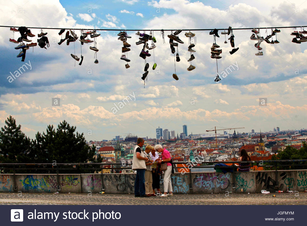 The cityscape of Prague from Letna Park. - Stock Image
