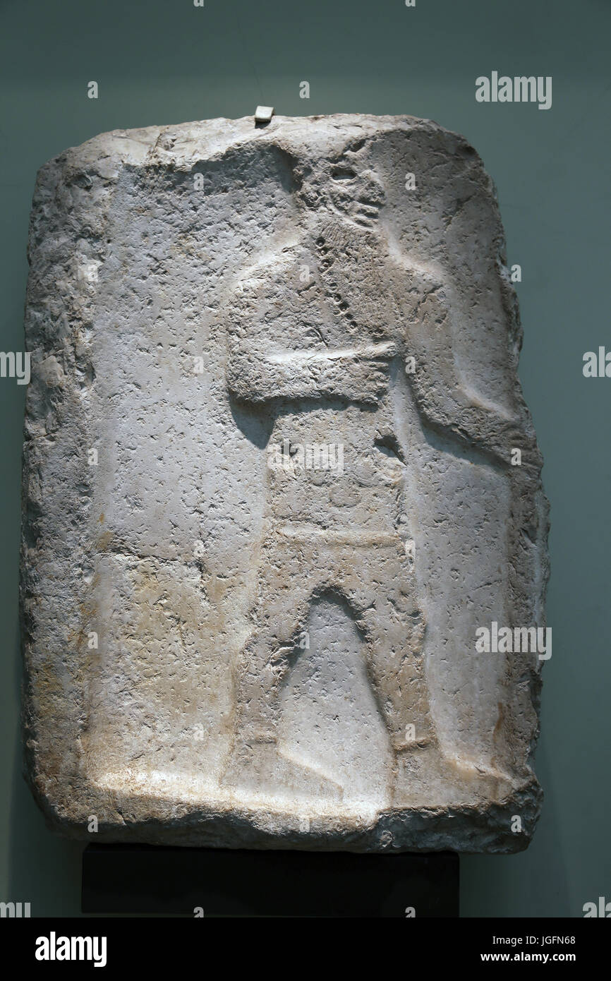 Bearded male worshipper, 600-570 BC. Appeared on Cyprus. Cypriot adapted contemporary Middle Eastern styles.Head - Stock Image