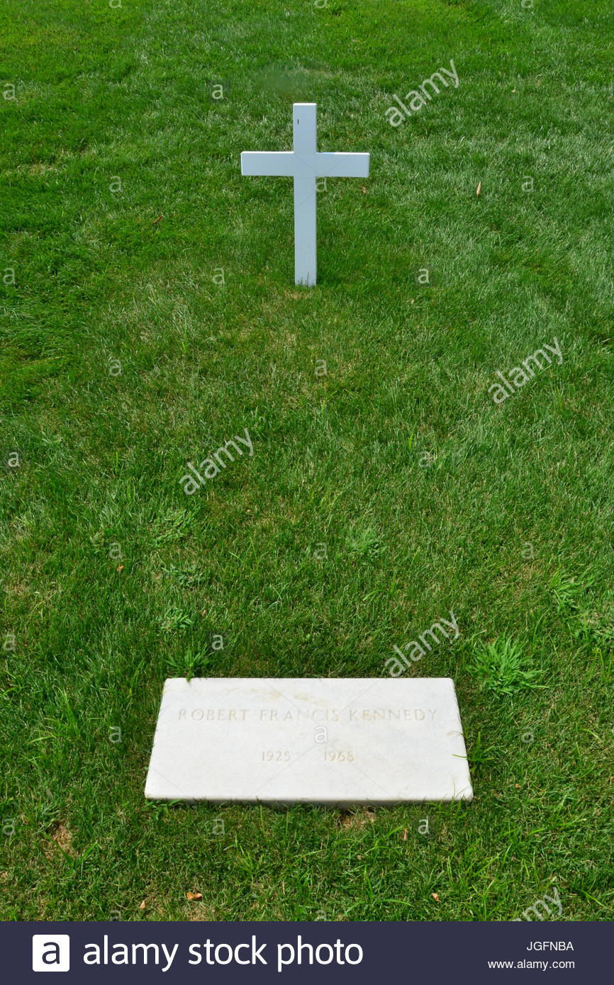 Robert F. Kennedy's grave at Arlington National Cemetery. - Stock Image