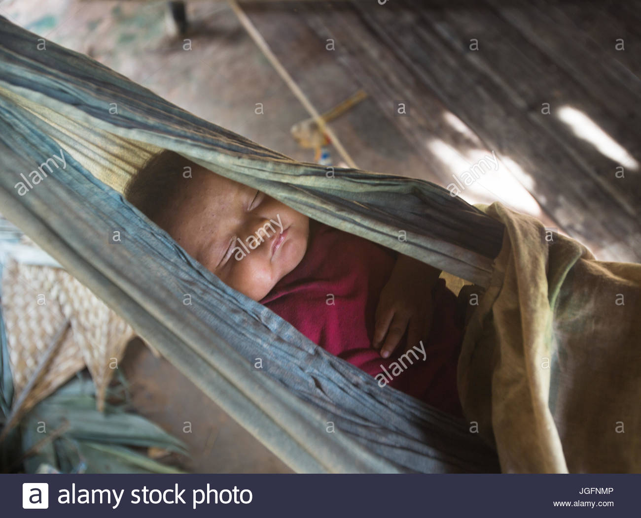 Baby sleeping in a hammock in the Tsimane settlement of Anachere, in the Amazon rainforest. Stock Photo