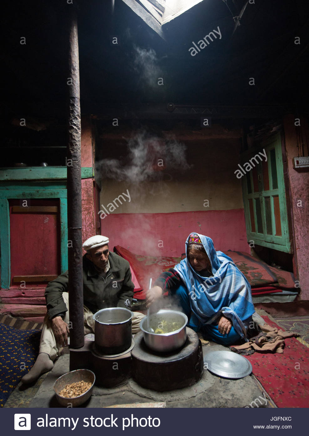 Cooking lunch in a home in the Hunza Region. - Stock Image