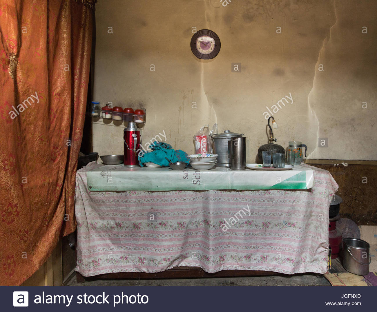 A kitchen in a home in the Hunza Region. - Stock Image