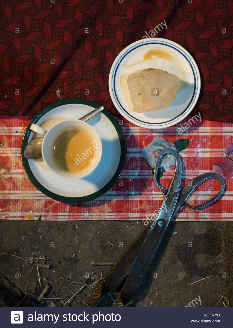 Rock salt and tea with milk. - Stock Image