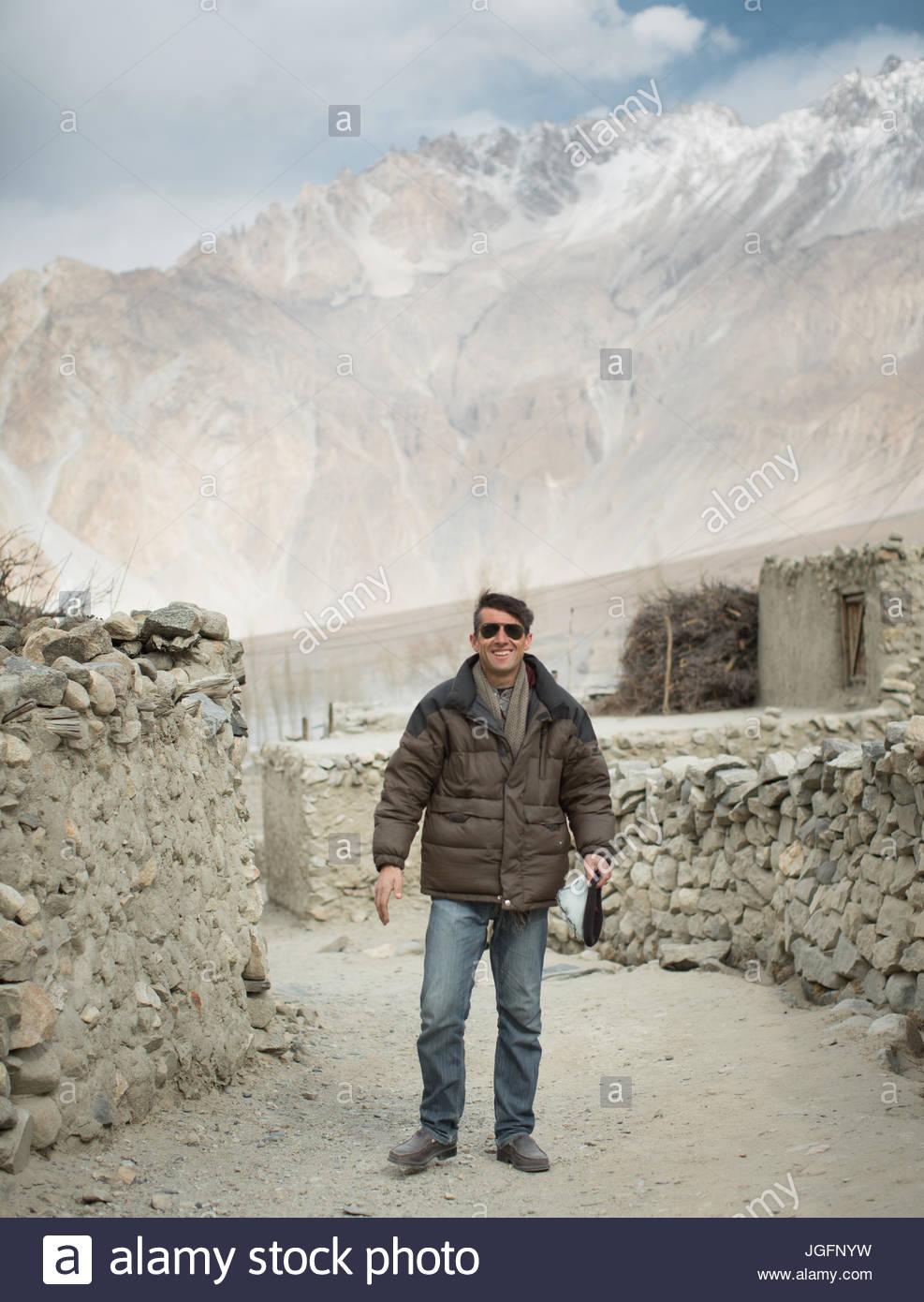 The progressive Islamic religious leader of Hussaini village in the Hunza region. - Stock Image
