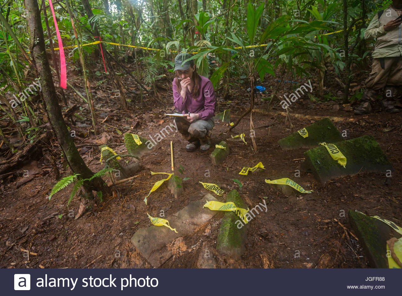 An anthropology grad student documents a cache of more than 50 artifacts discovered in the Mosquitia jungle. - Stock Image
