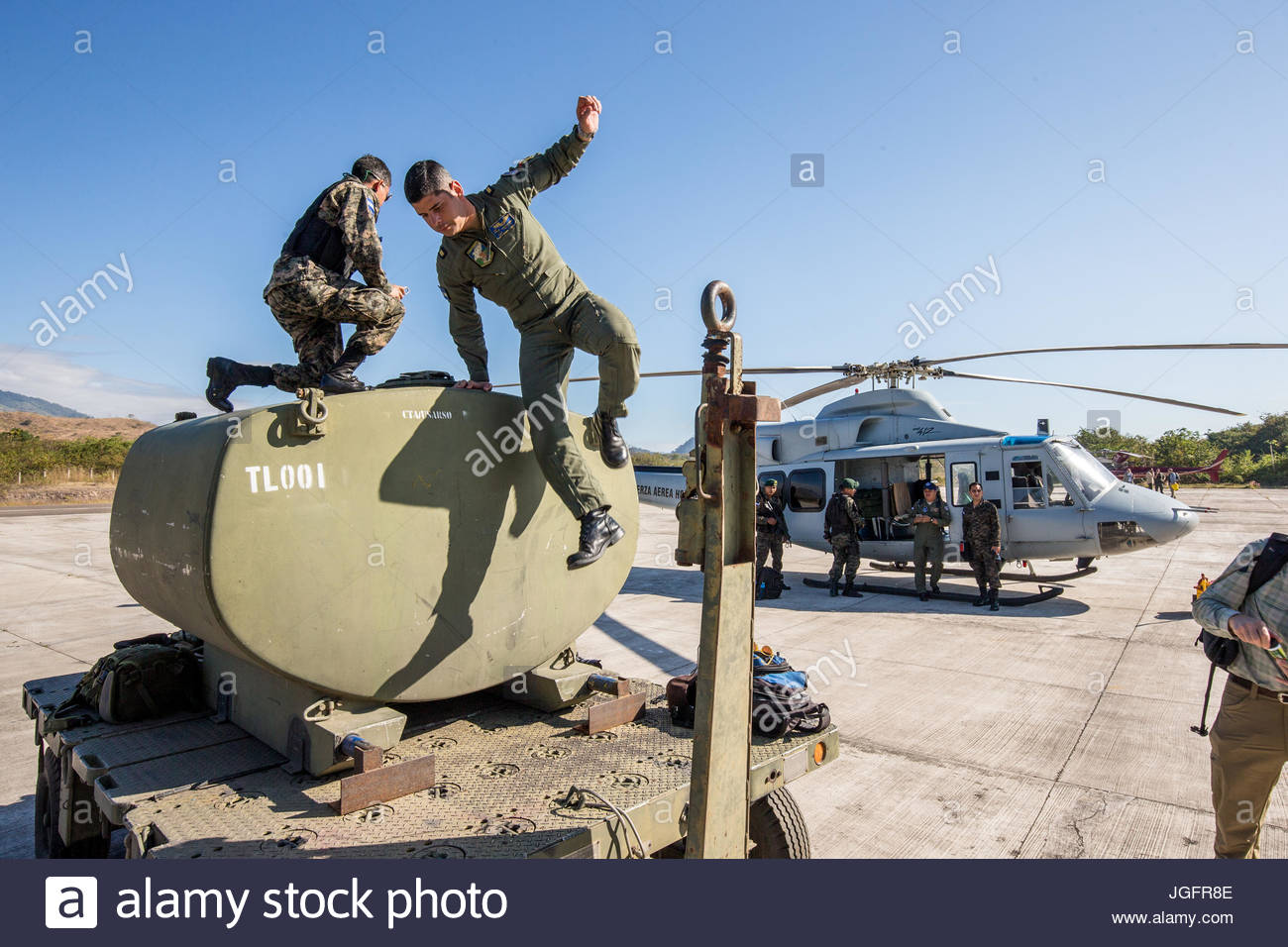 A fuel tank for helicopters is used to resupply the choppers that took members of an expedition to a location in - Stock Image