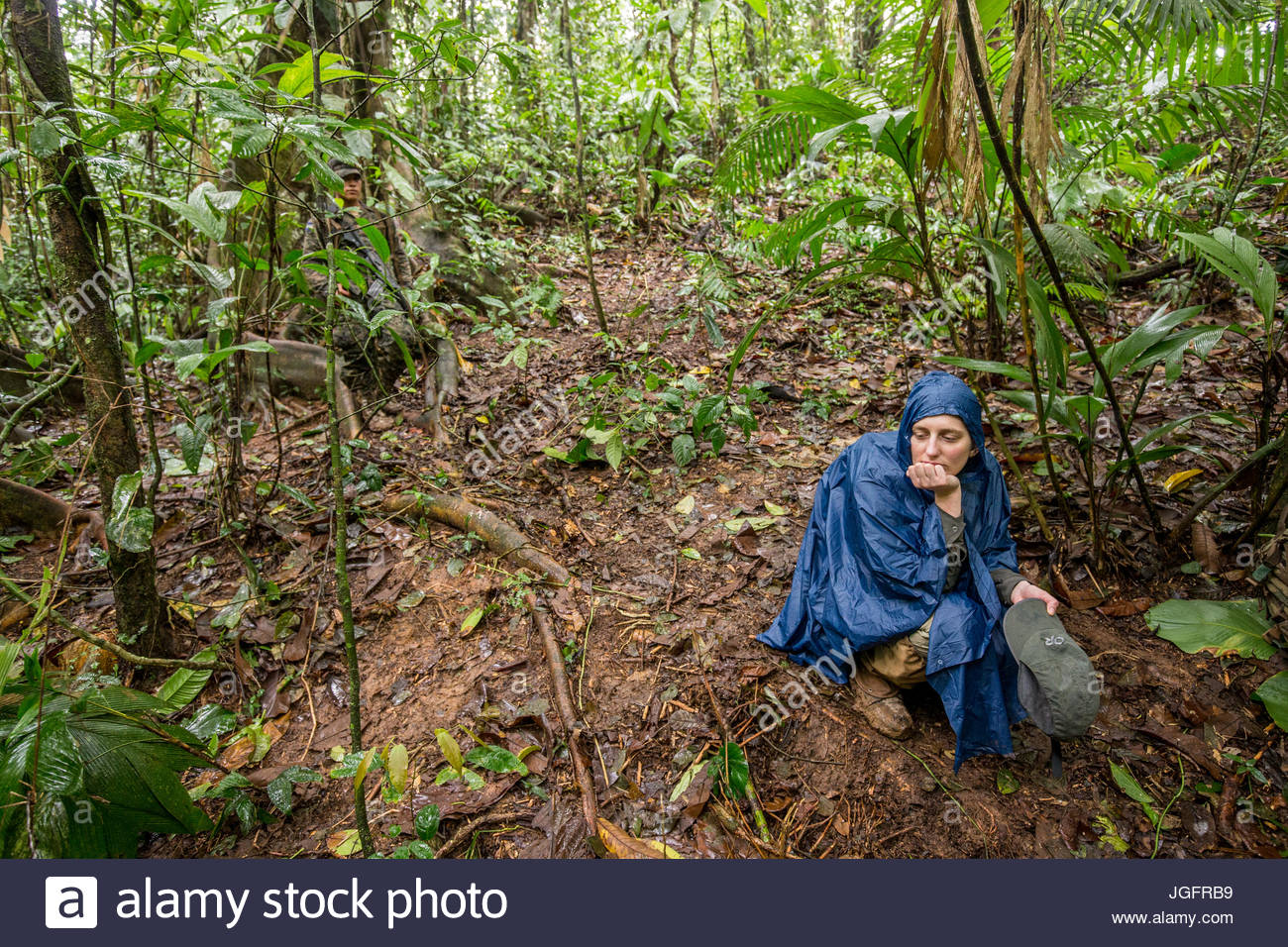 An anthropologist on an expedition to explore the ruins of a pre-Colombian city in the Mosquitia jungle. - Stock Image