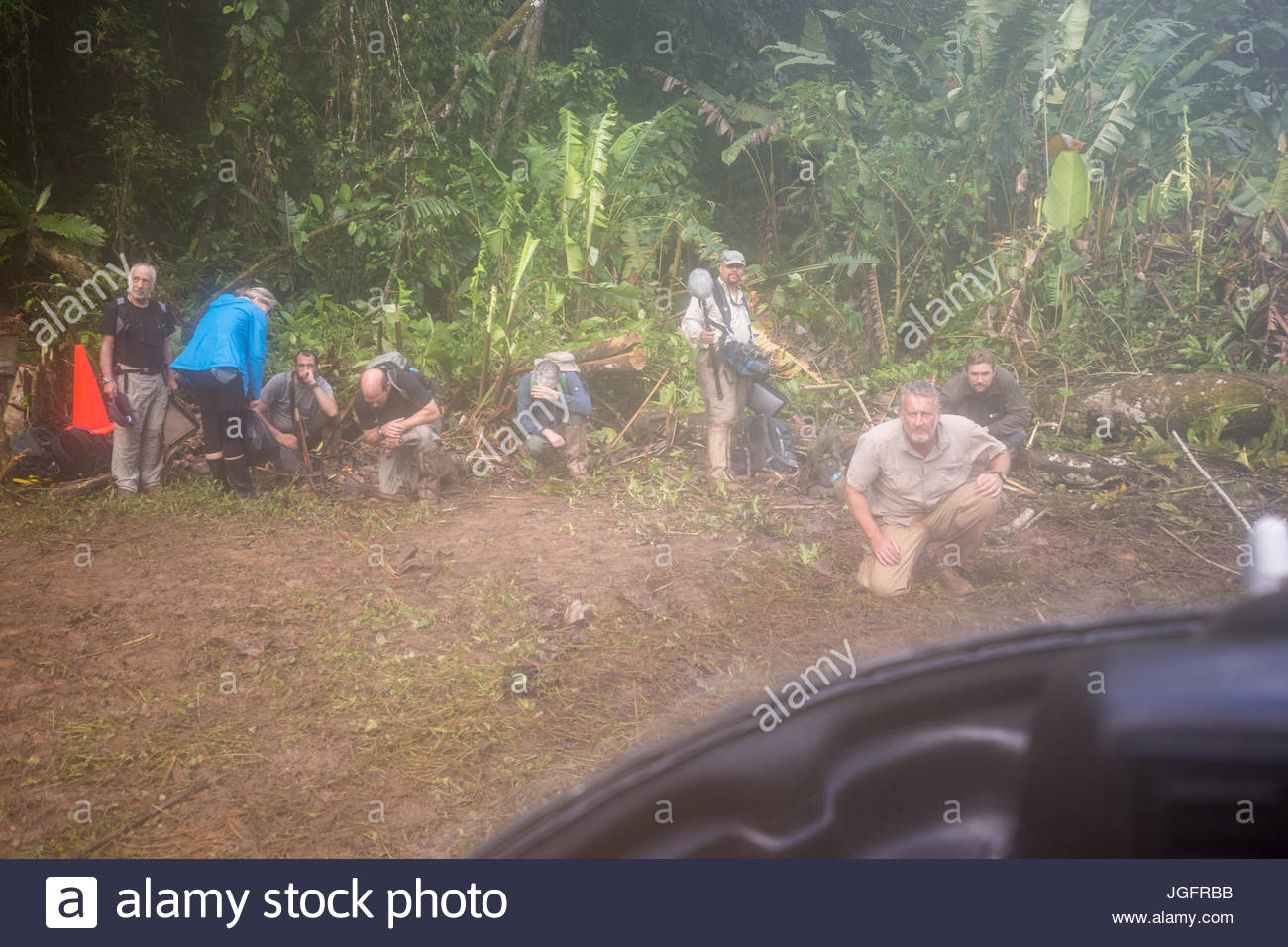 Team members of an expedition to explore the ruins of a pre-Colombian city in the Mosquitia jungle. - Stock Image