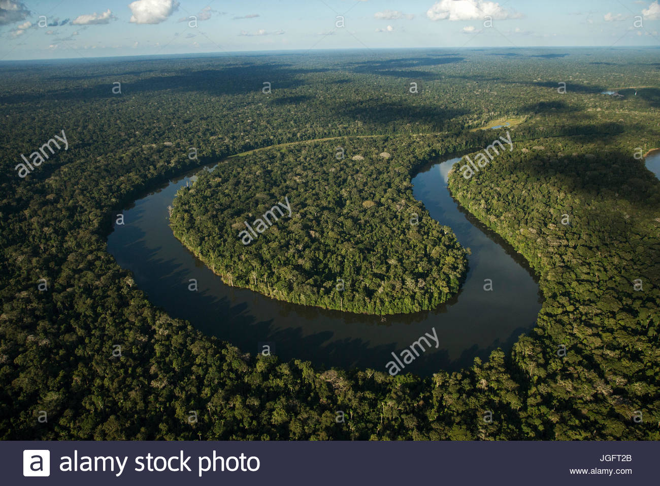 Cocha Salvador, oxbow lake, is key habitat in Manu National Park. - Stock Image