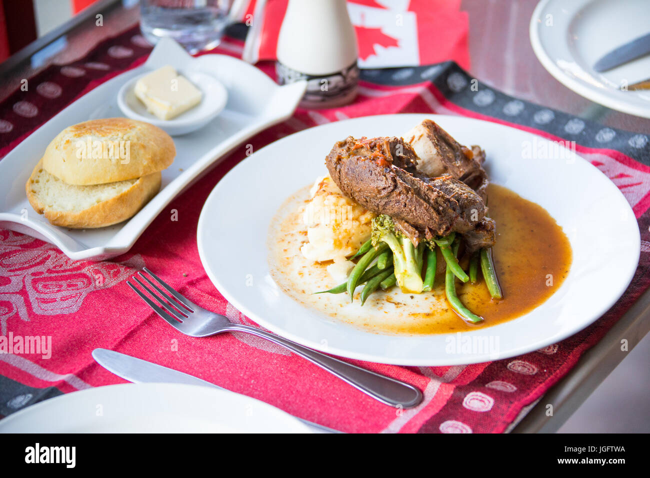 Elk Shank at Salmon N' Bannock Native Food Bistro, Fairfield Slopes, Vancouver, Canada - Stock Image