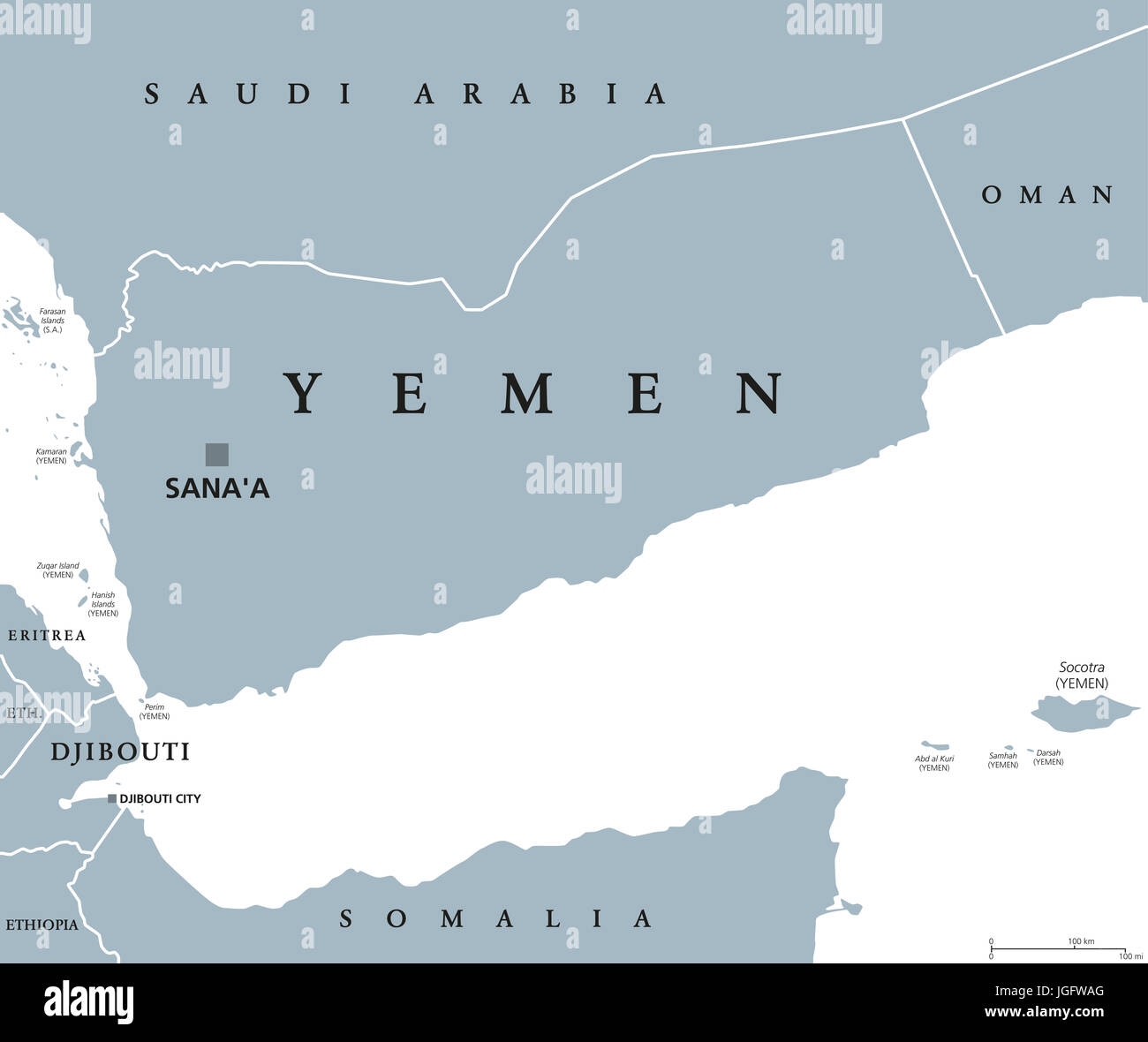 Yemen political map with capital Sanaa Republic