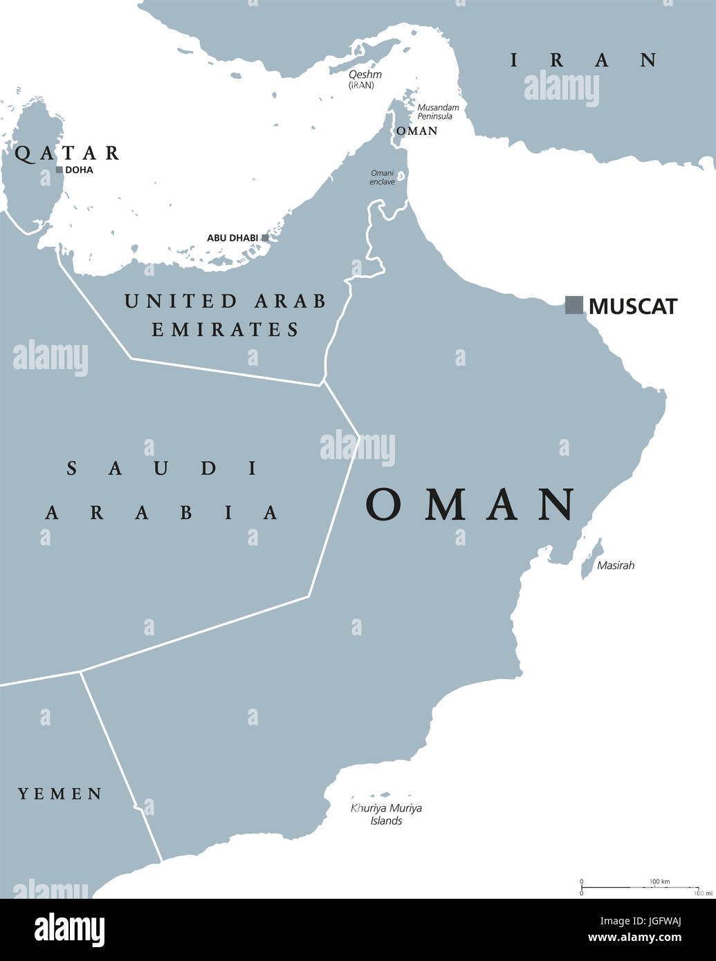 oman political map with capital muscat sultanate and arab country in western asia and middle east on the arabian peninsula gray illustration