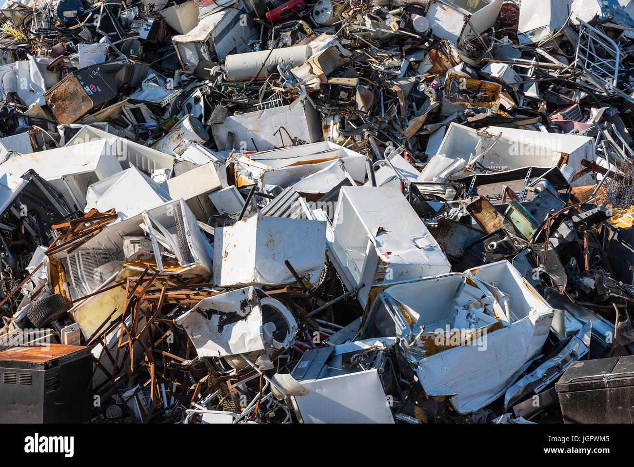 Scrap metal recycling facility. Stock Photo