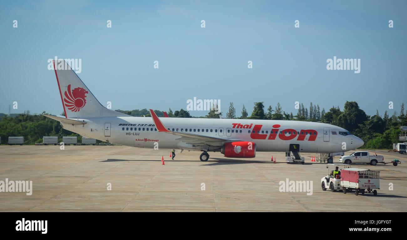 Chiang Mai, Thailand - Jun 22, 2016. A civil aircraft at Chiang Mai Airport in Thailand. Chiang Mai is a land of - Stock Image