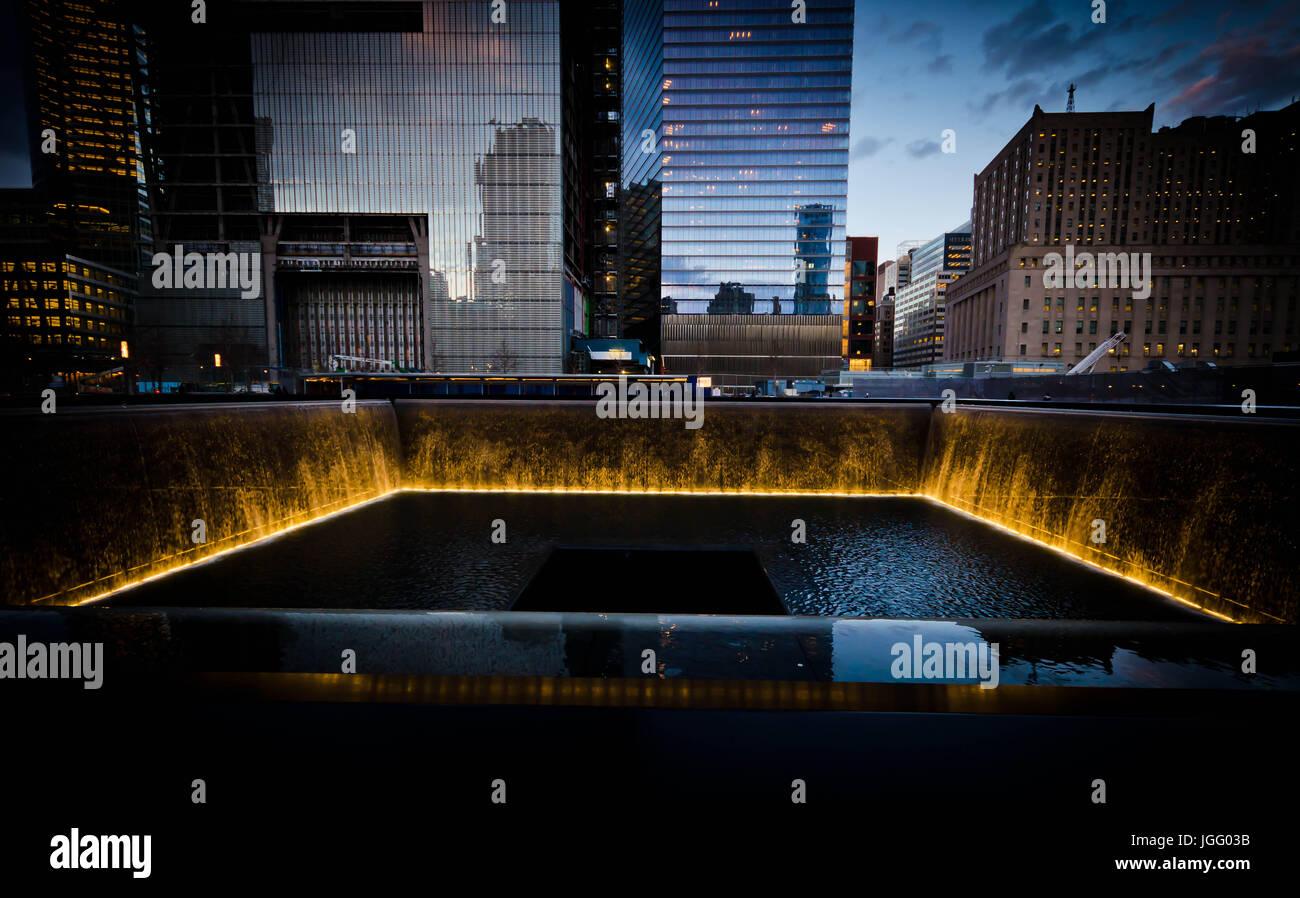 9/11 Memorial & Museum at night Stock Photo