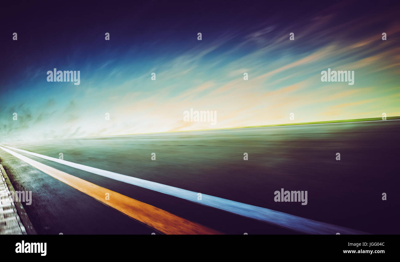 Motion blurred racetrack,cold mood - Stock Image