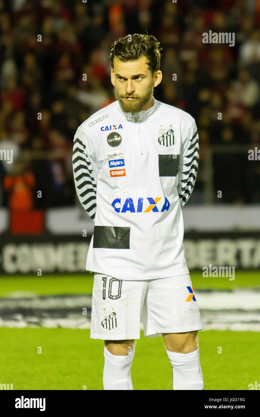 Curitiba, Brazil. 05th July, 2017. Lucas Lima with a distrustful face during Atlético PR x Santos, a game valid - Stock Image