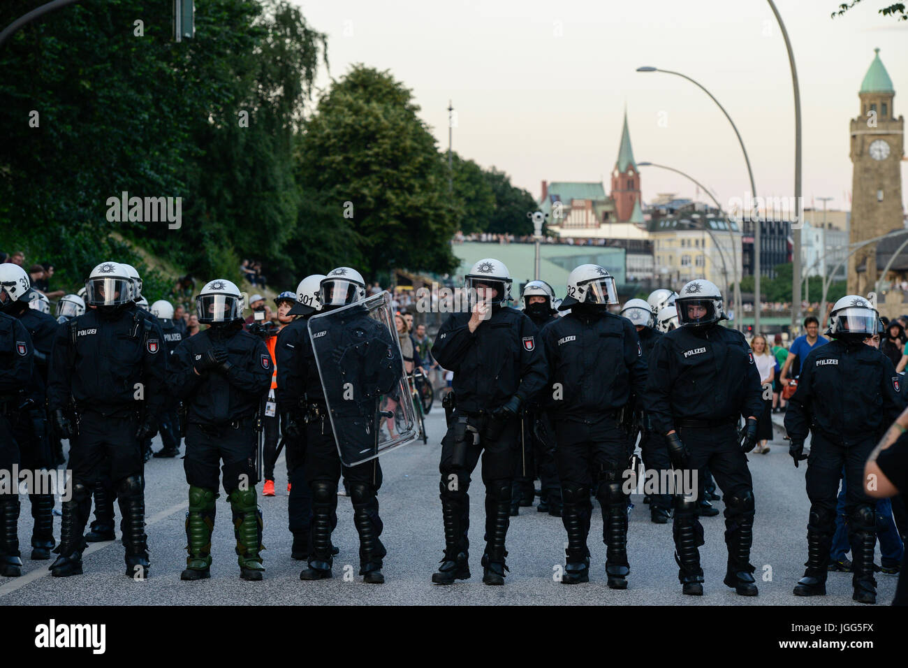 "Hamburg, Germany. 6th July, 2017. GERMANY, Hamburg, protest rally ""G-20 WELCOME TO HELL"" against G-20 summit in Stock Photo"