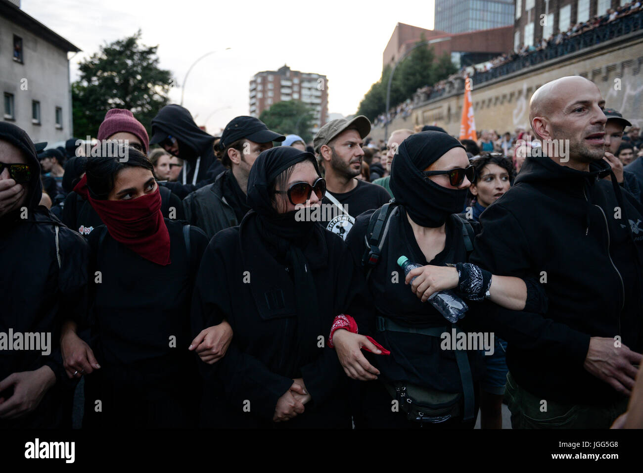"Hamburg, Germany. 6th July, 2017. GERMANY, Hamburg, protest rally ""WELCOME TO HELL"" against G-20 summit in July Stock Photo"