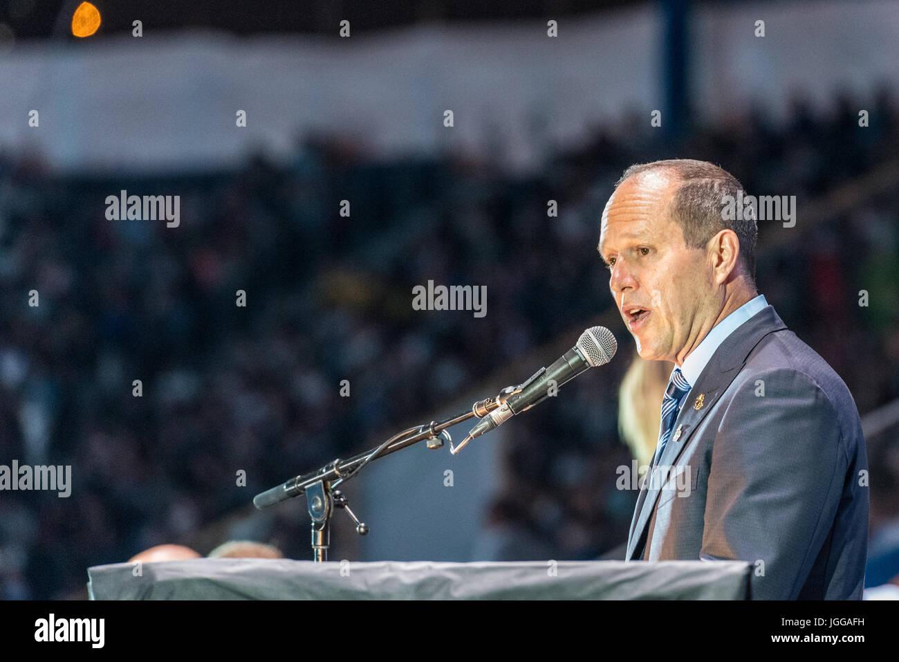 Jerusalem, Israel. 6th July, 2017. Opening ceremony of the 20th Maccabiah games - Nir Barkat mayor of Jerusalem - Stock Image