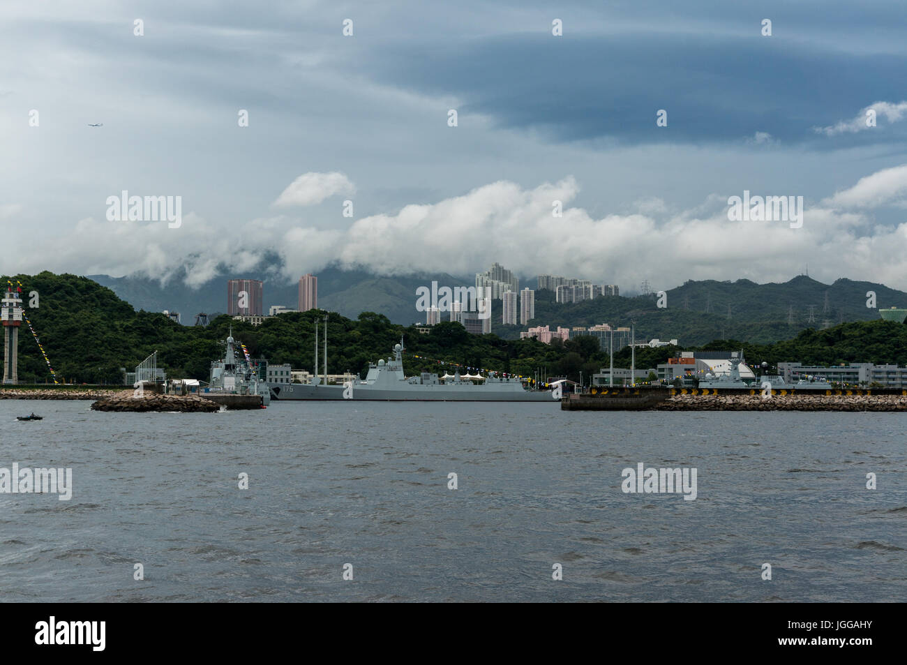 Chinese battleships (which accompanied aircraft carrier CNS Liaoning) docked at PLA military base at Stonecutters Stock Photo