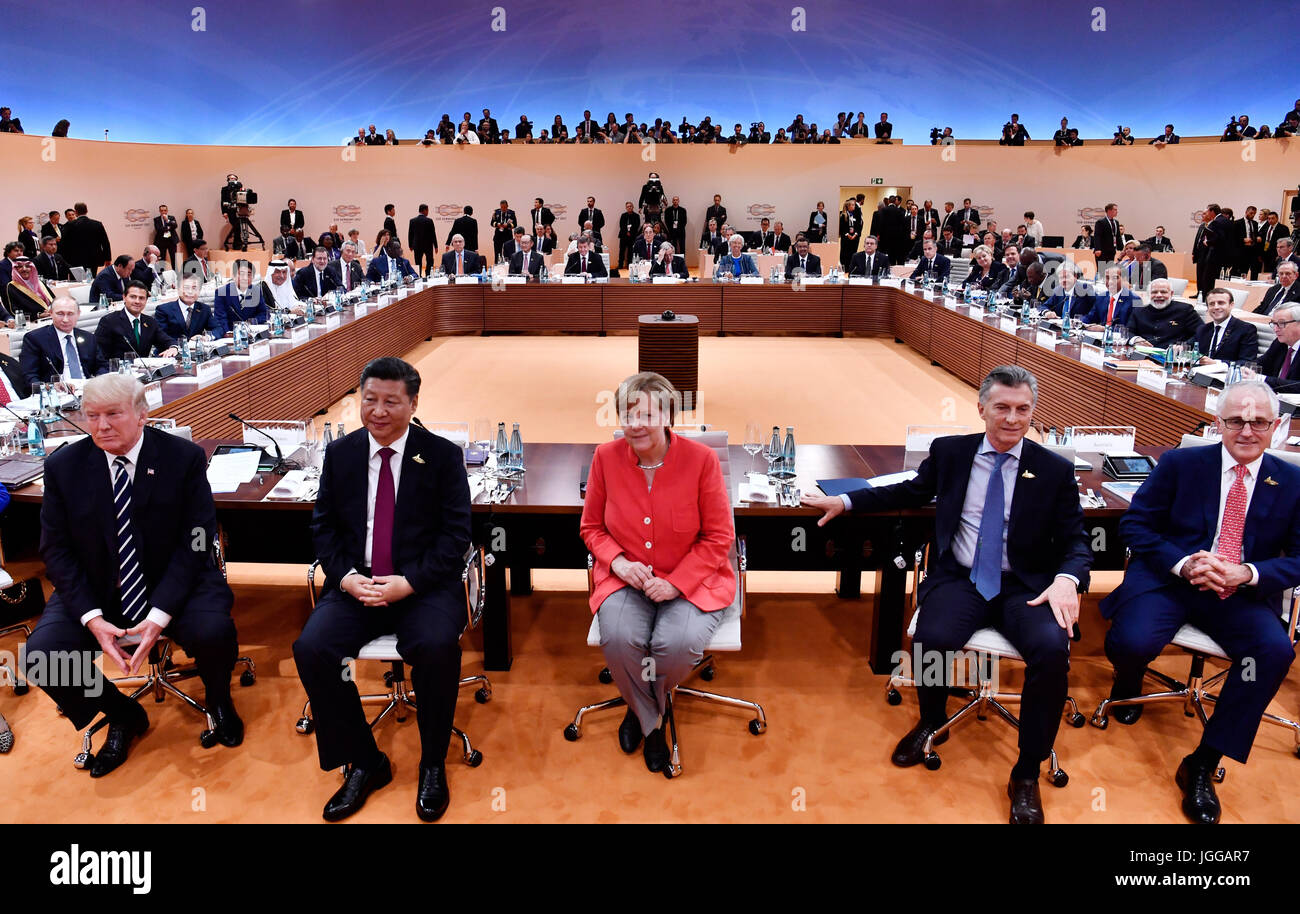 Hamburg, Germany. 7th July, 2017. L-R: American president Donald Trump, Chinese president Xi Jinping, German chancellor - Stock Image