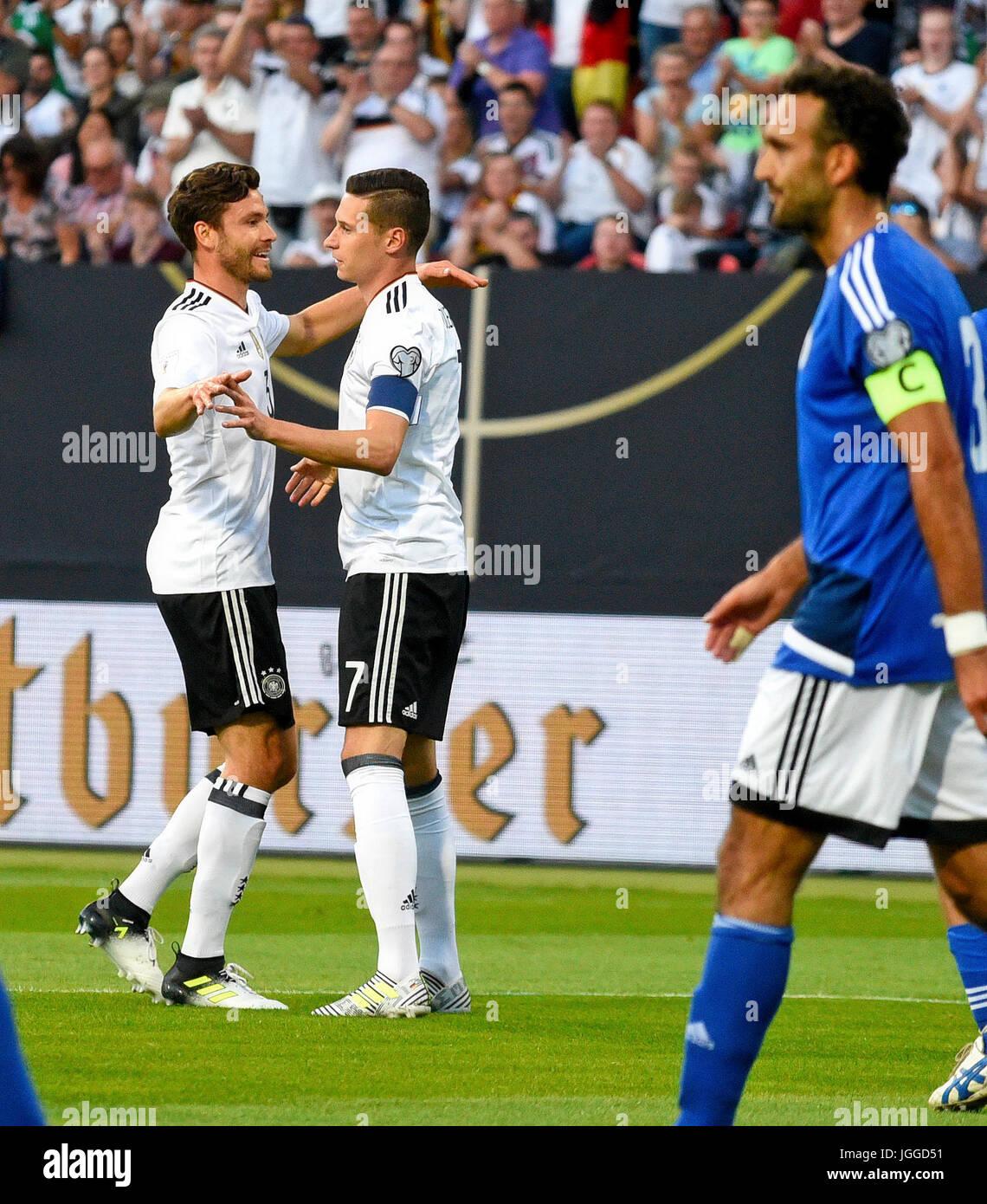 10.06.2017, Fussball Länderspiel WM-Qualifikation, Deutschland - San Marino, im Stadion Nürnberg. Torjubel 1:0 von Stock Photo
