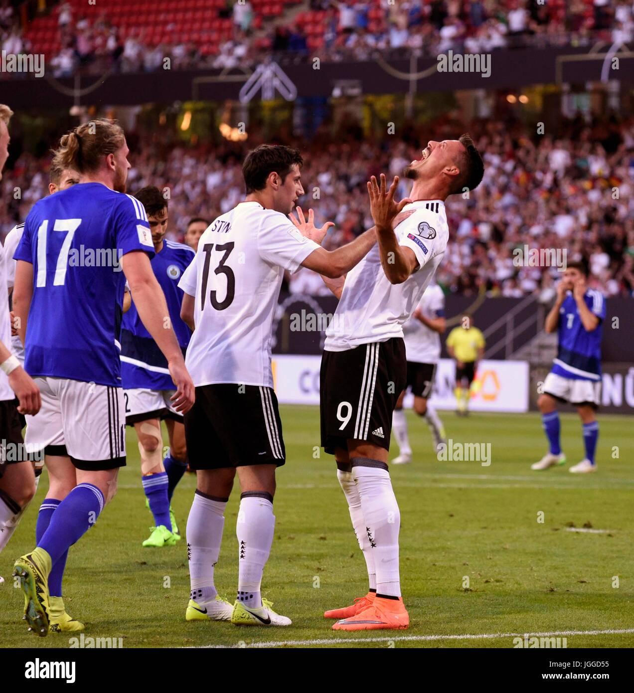 10.06.2017, Fussball Länderspiel WM-Qualifikation, Deutschland - San Marino, im Stadion Nürnberg. Torjubel - Stock Image