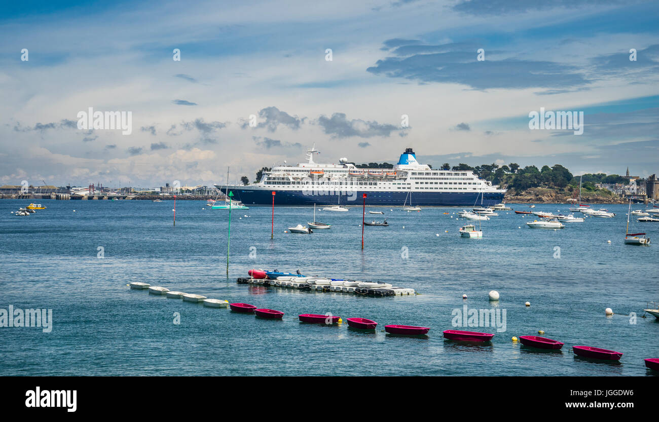France, Brittany, Dinard waterfront, view of cruise ship Saga Sapphire, moored on the River Rance Stock Photo