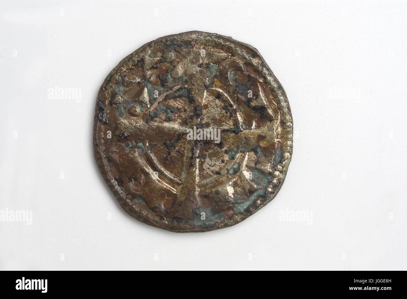 Medival Coin of Spain, Alfonso I, dinero - Stock Image