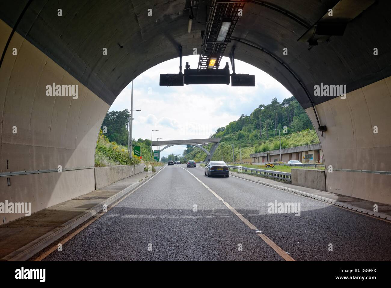 The Hindhead road tunnel on the A3 trunk road Surrey UK - Stock Image