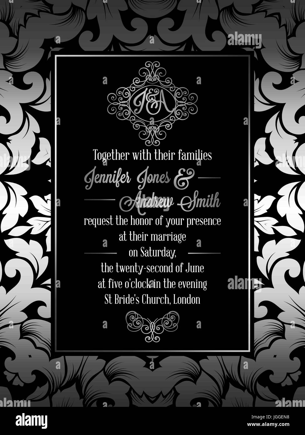 Vintage baroque style wedding invitation card template elegant vintage baroque style wedding invitation card template elegant formal design with damask background traditional decoration for wedding silver dec stopboris Image collections