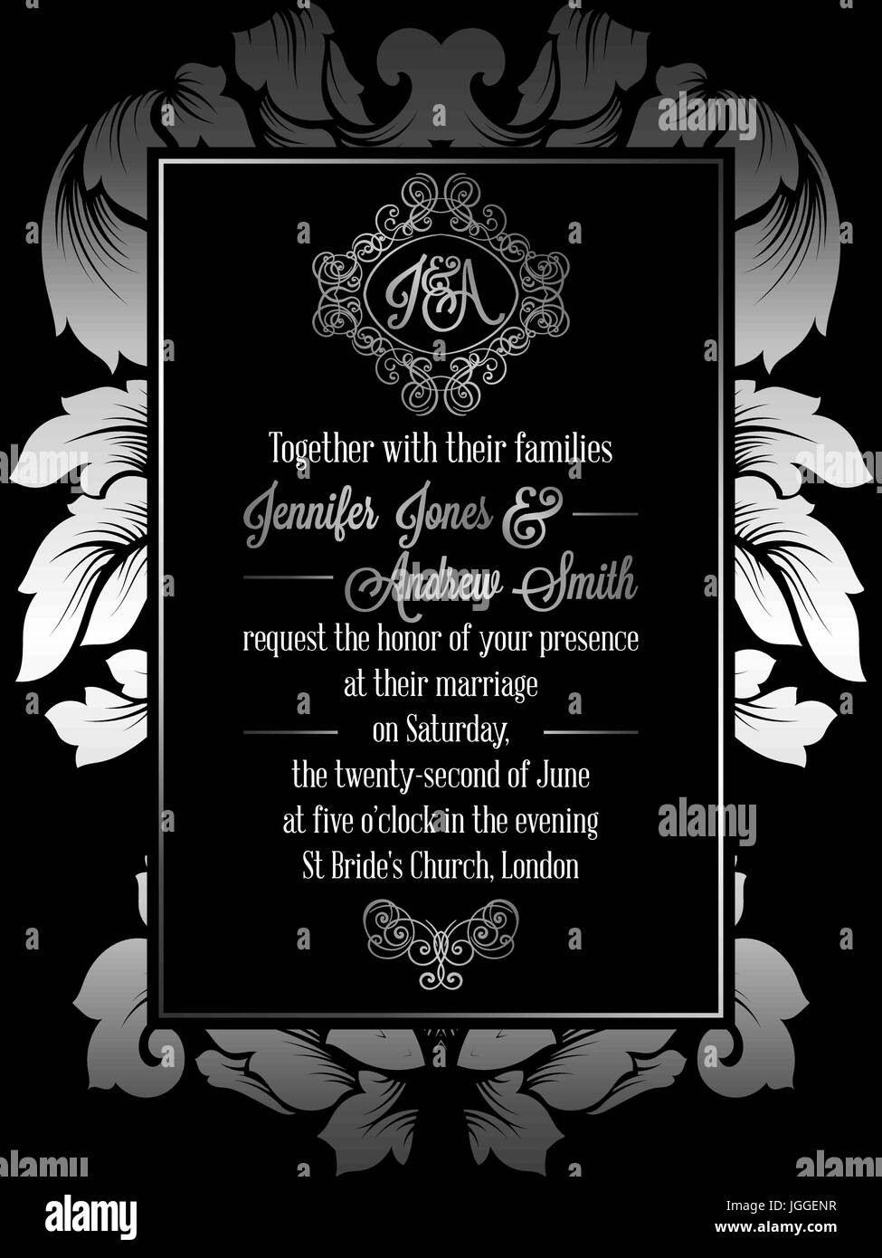 Vintage baroque style wedding invitation card template elegant vintage baroque style wedding invitation card template elegant formal design with damask background traditional decoration for wedding silver dec stopboris Gallery