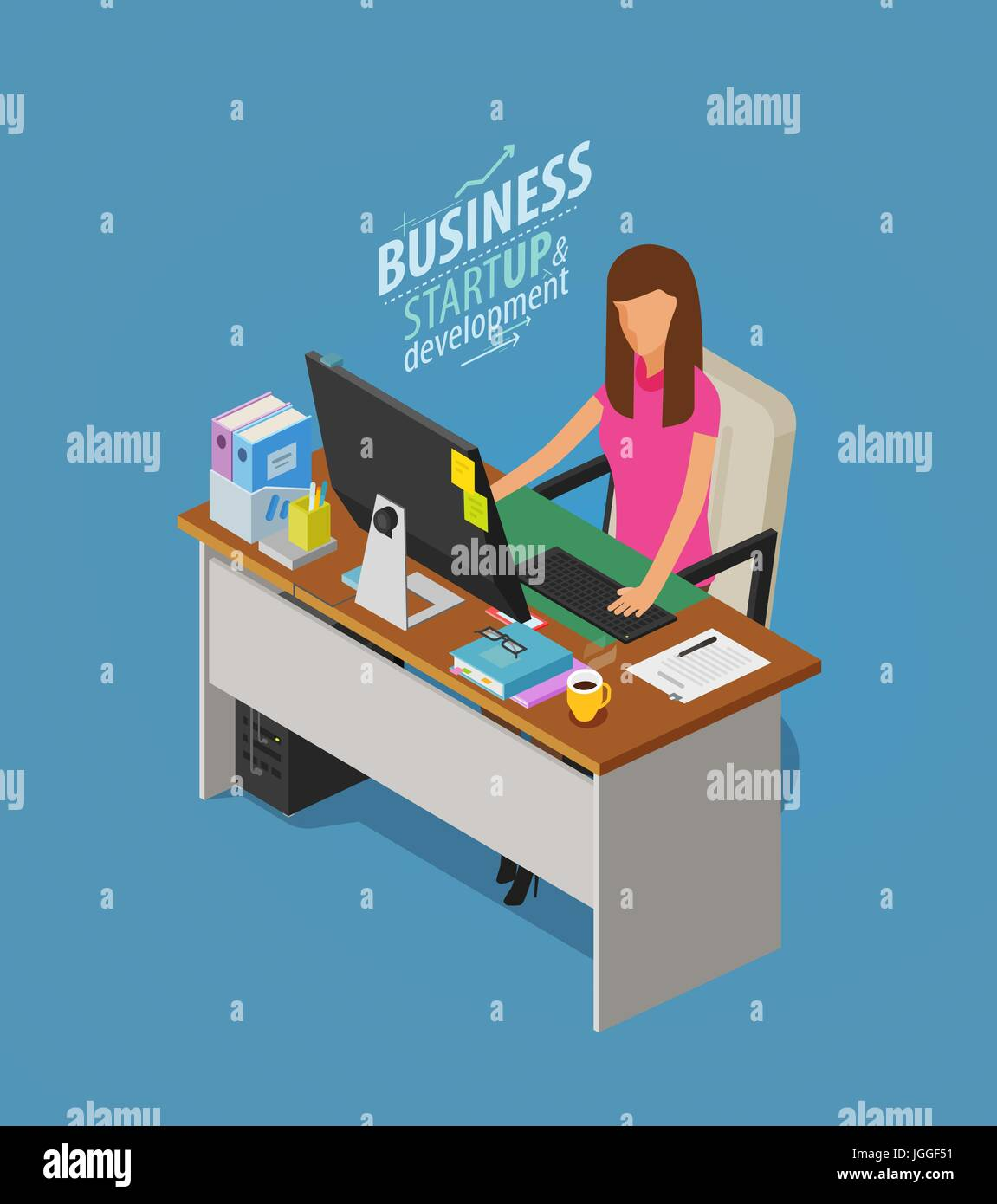 Business concept. Girl, woman sitting at desk with computer. Office worker, work, workplace icon. Flat vector illustration - Stock Vector