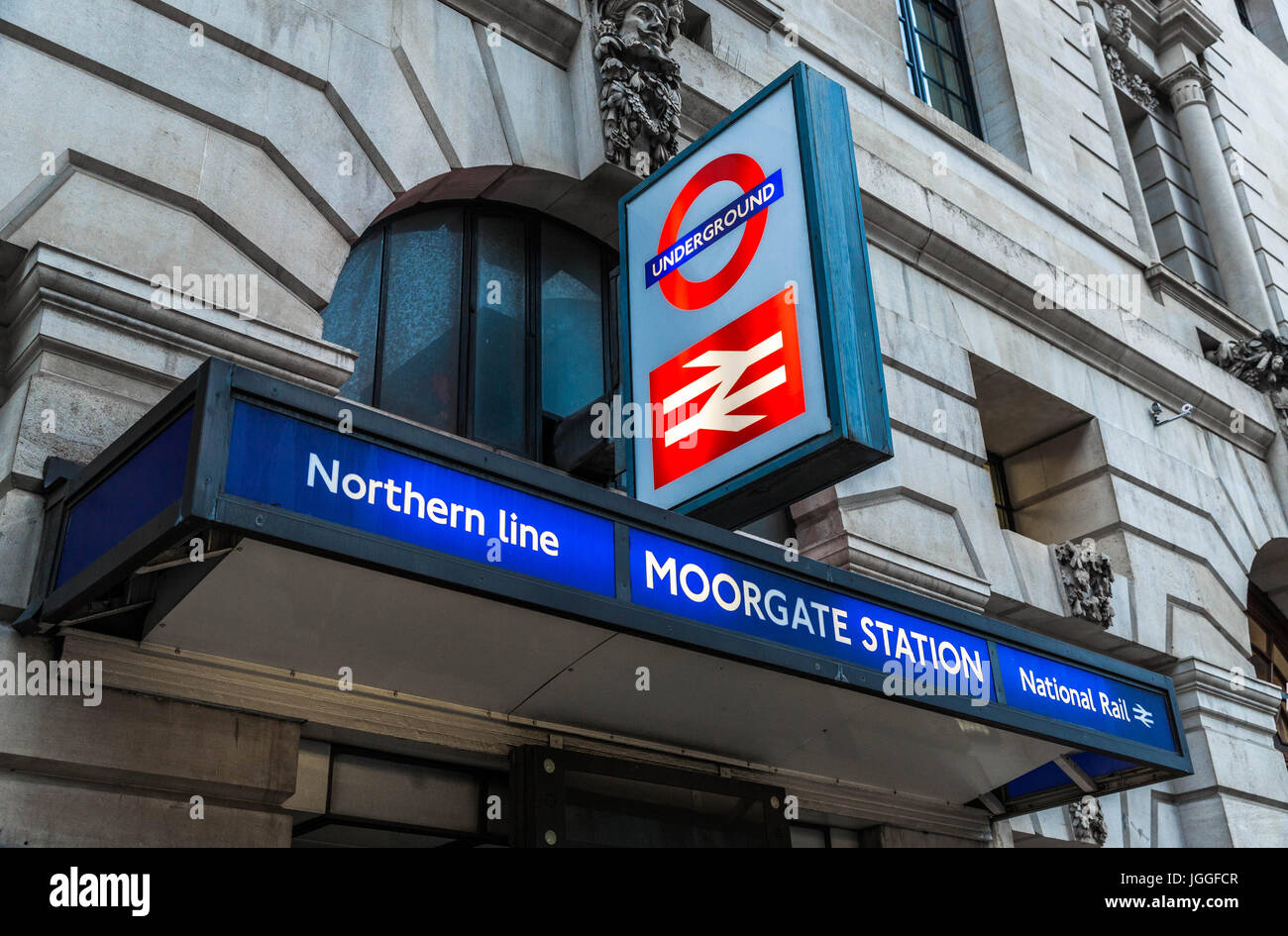 Low angle view of a Moorgate Station sign, London, England, UK. - Stock Image
