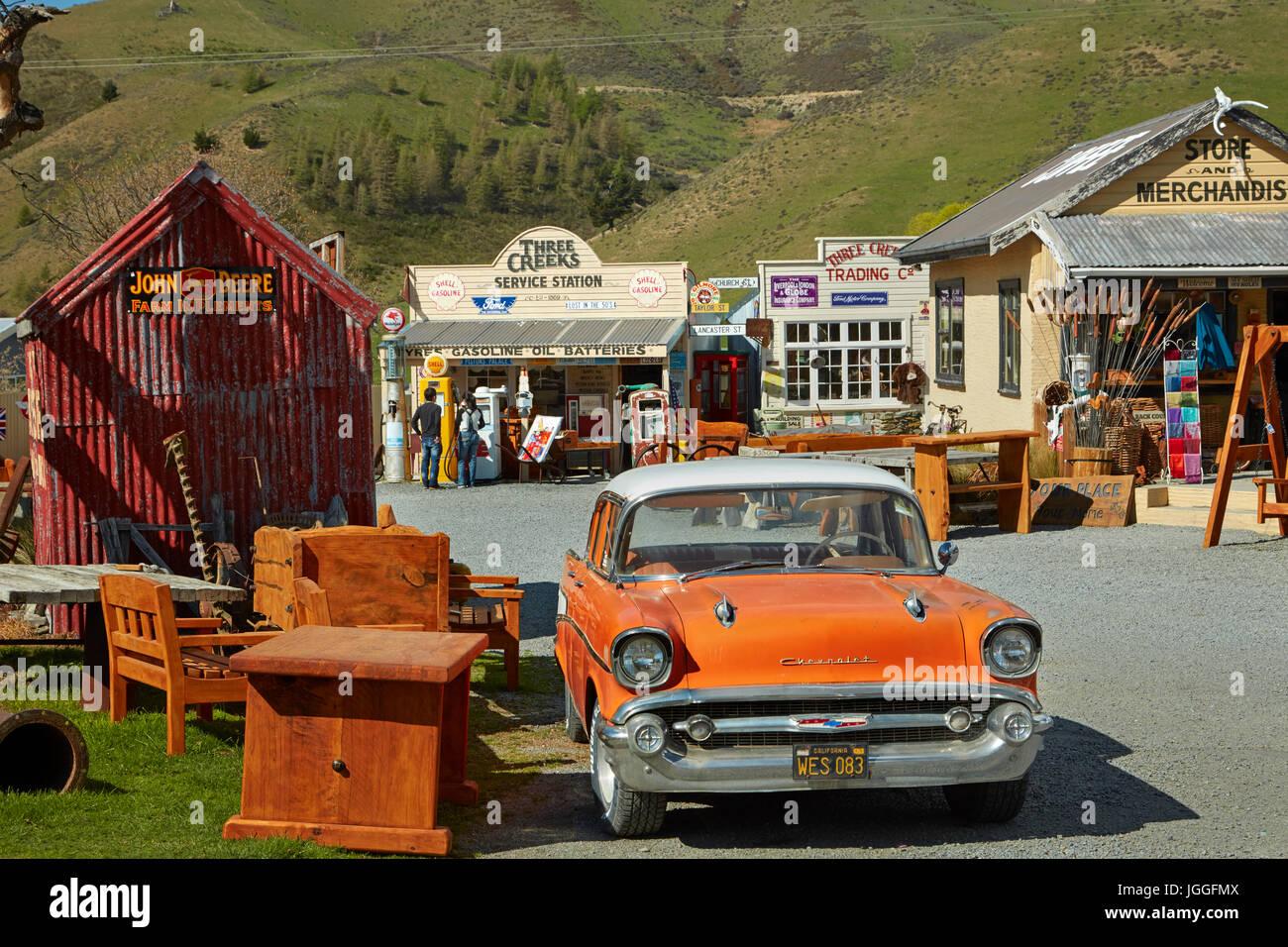 1957 Chevrolet at Three Creeks Trading Company, Burkes Pass, Mackenzie Country, Canterbury, South Island, New Zealand - Stock Image