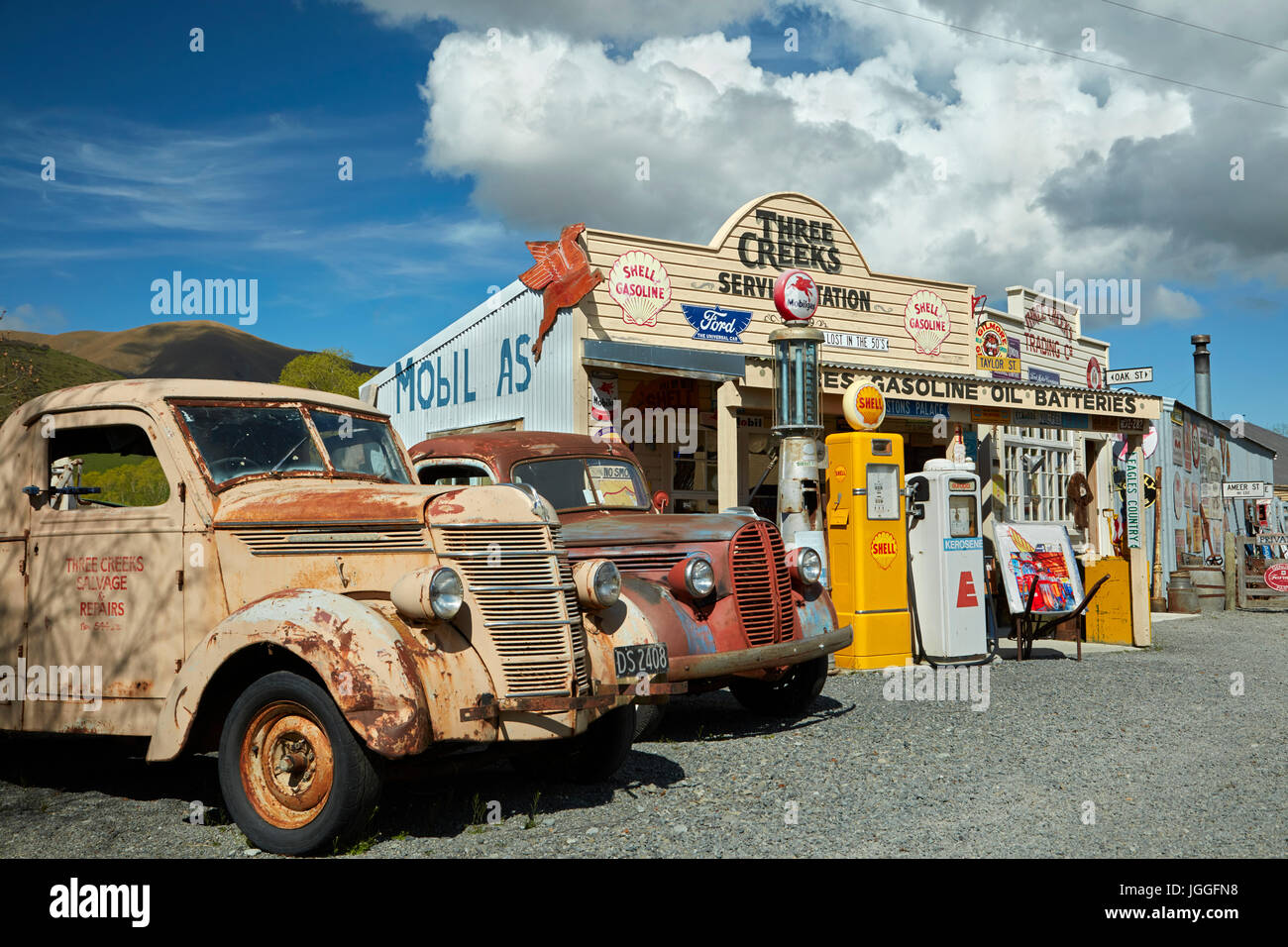 Retro pickup trucks at Three Creeks Trading Company, Burkes Pass, Mackenzie Country, Canterbury, South Island, New Stock Photo