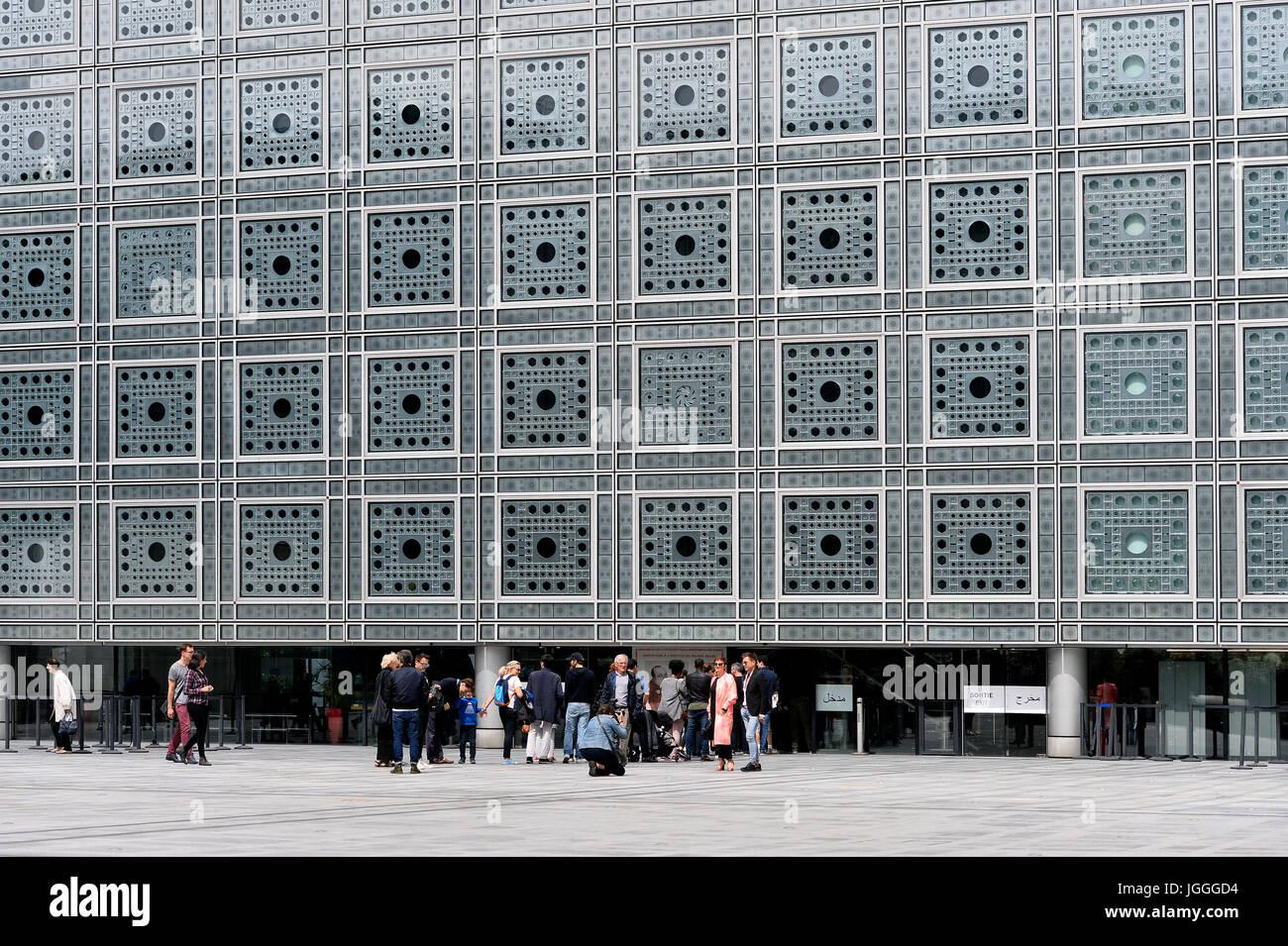 Institut du monde Arabe, 1 Rue des Fossés Saint-Bernard, 75005 Paris, France - Stock Image