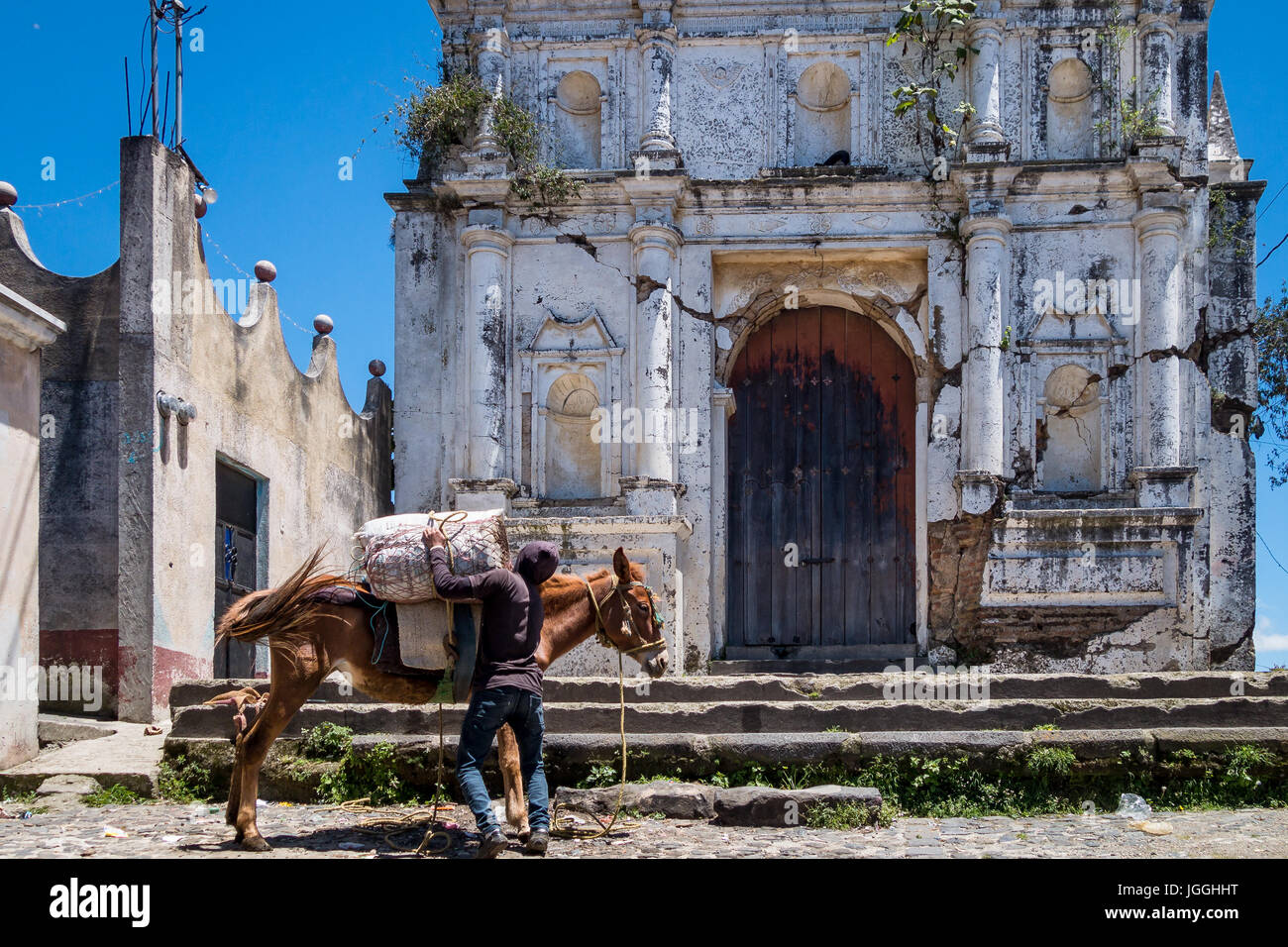 A local man from Guatemala, charging his donkey (mule) in Guatemala Stock Photo