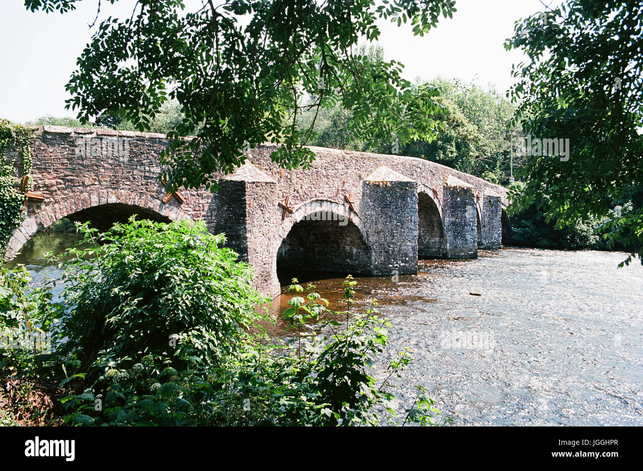 The Bridge at Bickleigh, Devon, UK, on the River Exe, North of Exeter - Stock Image