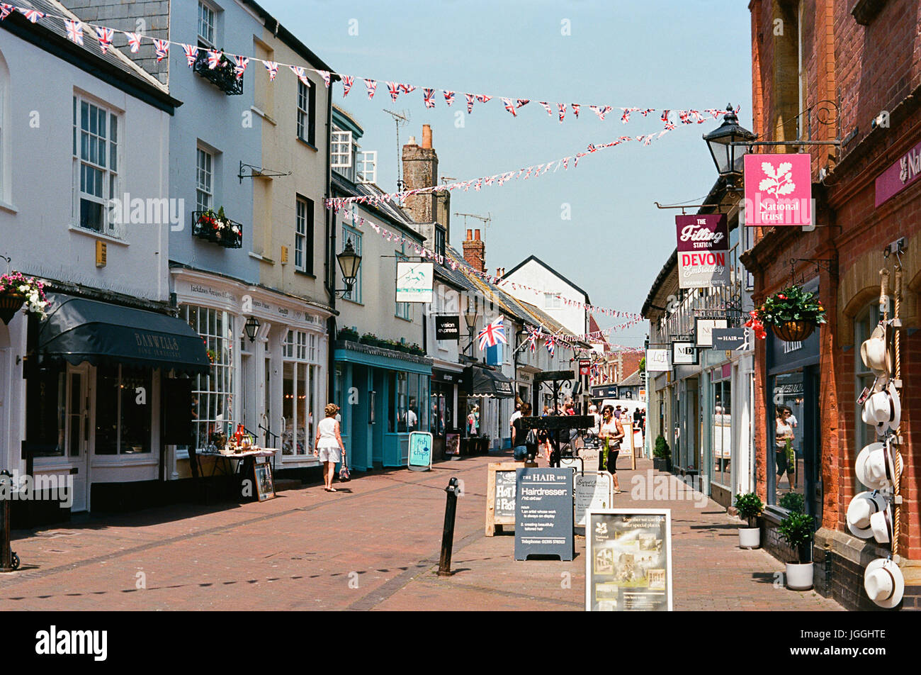 Old Fore Street in Sidmouth town centre, East Devon, UK - Stock Image