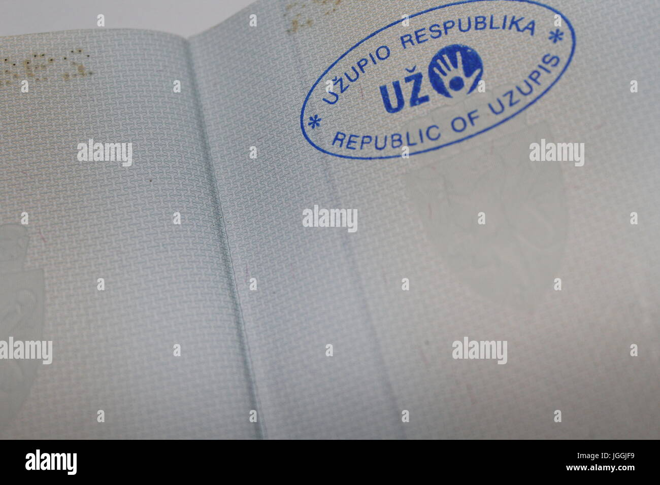 Passport stamp from the self-proclaimed microstate Užupis, located in the lithuanian capital Vilnius - Stock Image