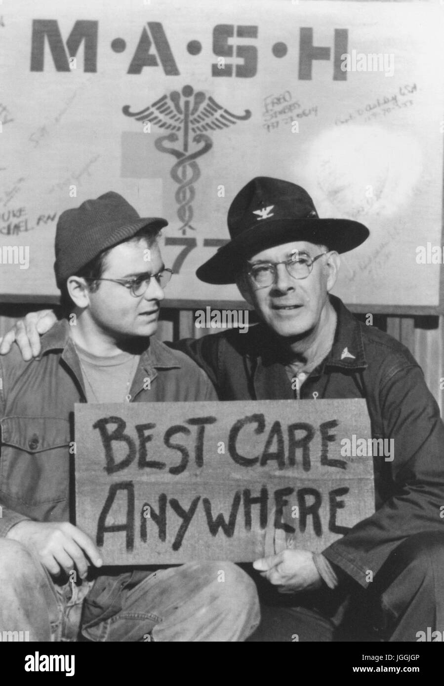 M*A*S*H CBS TV series 1972-1983 with Gary Burghoff as Radar and Harry Morgan as Sherman Potter - Stock Image