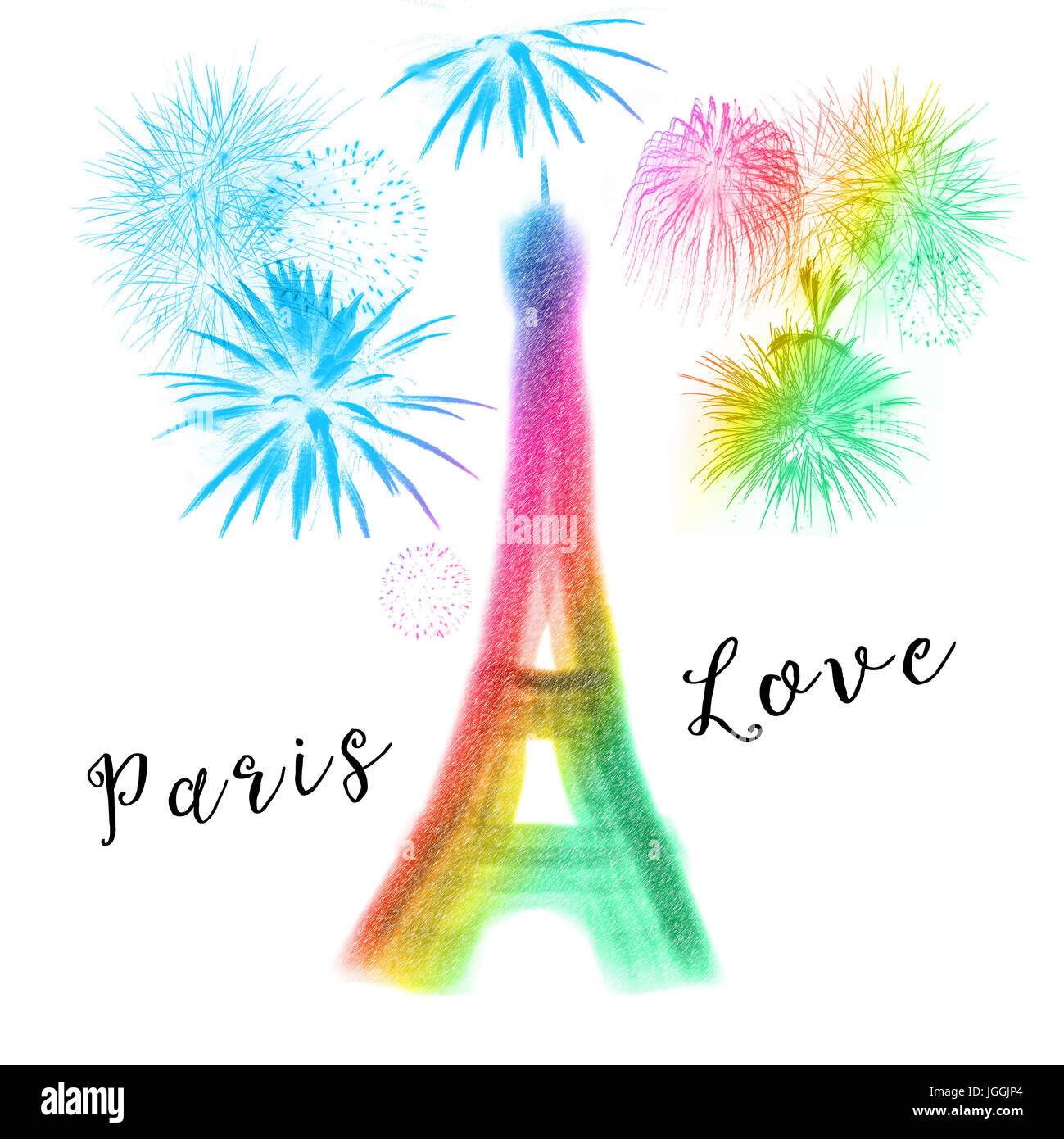 Abstract colorful silhouette of Eiffel tower - Stock Image